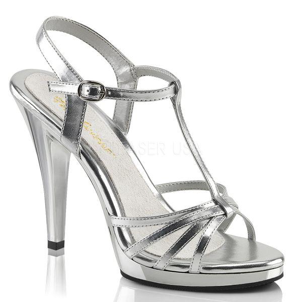 Riemchen Sandalette mit Plateau silber Kunstleder Flair-420